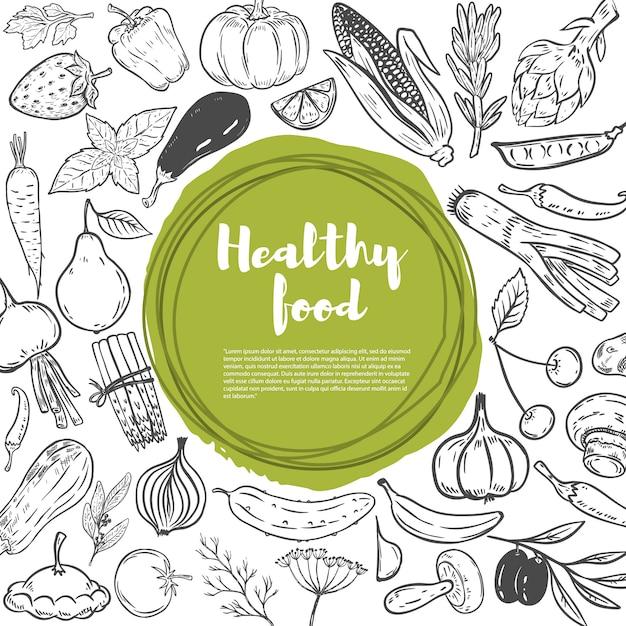 Carrots , cabbage , pumpkin, onion, garlic , broccoli , pepper , tomato, cucumber. set of hand drawn vegetables. healthy food  template. Premium Vector