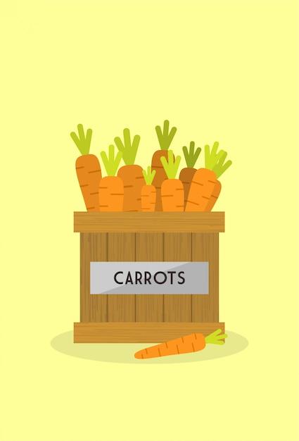 Carrots in the wooden box Premium Vector