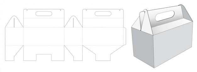 Carry carton die cut template Premium Vector