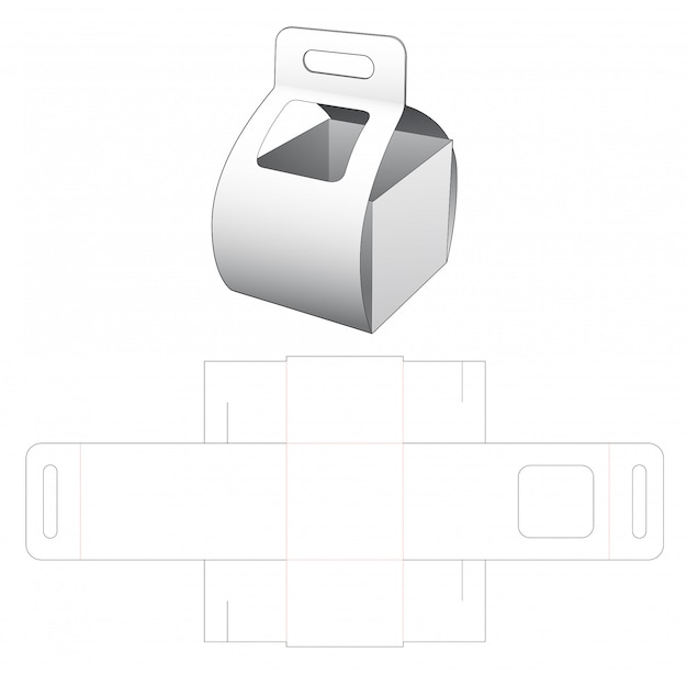 Carrying cardboard box with window die cut template Premium Vector