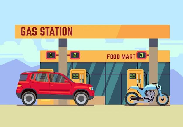 車とフラットスタイルのガソリンスタンドでのオートバイ Premiumベクター