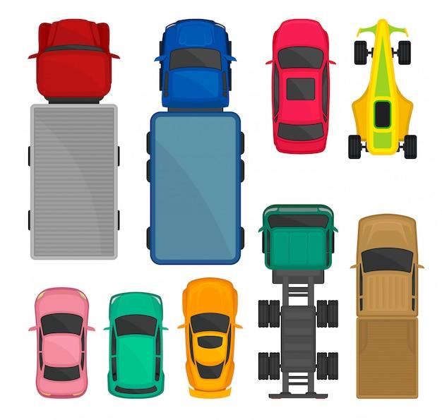 車とトラックのトップビューセット、都市、レース、貨物配送車両、輸送用自動車 Premiumベクター