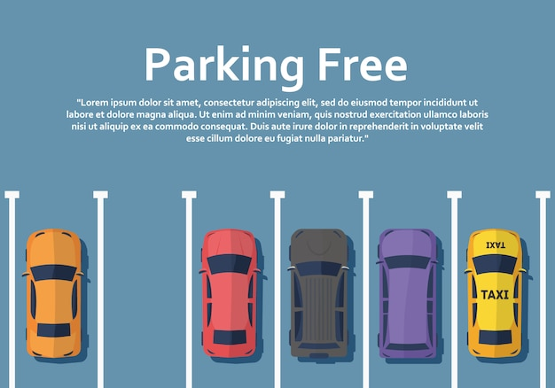 Cars are standing on parking view from above. Premium Vector