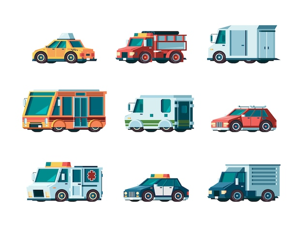 Cars. city traffic municipal vehicle fire ambulance police post office taxi truck bus and collector car orthogonal pictures Premium Vector