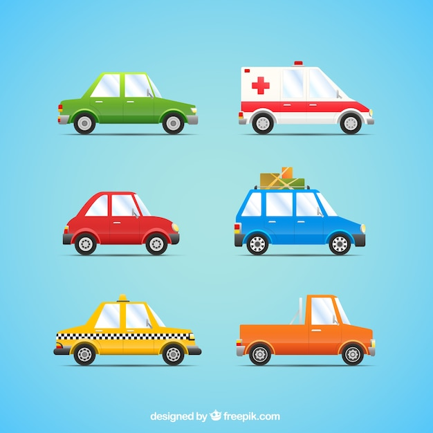 Cars collection in cartoon style Free Vector