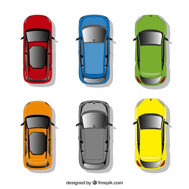 Cars collection in top view Free Vector