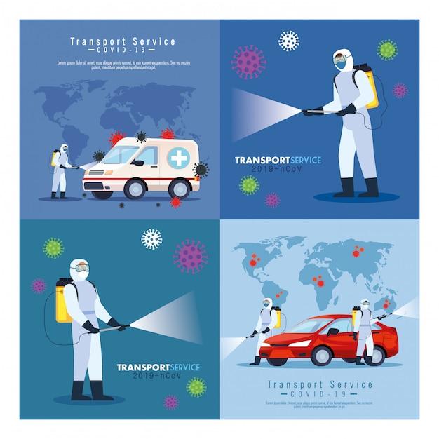 Служба дезинфекции автомобилей, профилактика коронавируса, чистка поверхностей в автомобиле с помощью дезинфицирующего спрея, лица с костюмом биологической опасности Premium векторы