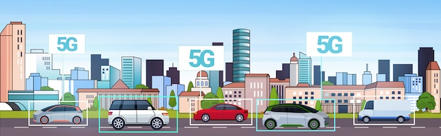Cars driving road 5g online wireless system connection concept fifth innovative internet generation city traffic cityscape background horizontal Premium Vector