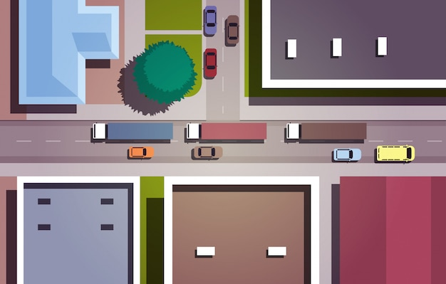 Cars driving road city streets with buildings top angle view horizontal Premium Vector