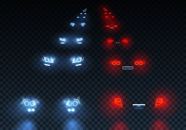 Cars flares traffic road lights set with low beam passing lights with reflections on transparent illustration Free Vector