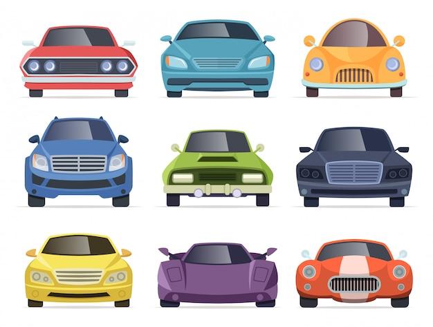 車の正面図。タクシートラックバスバン車輸送漫画コレクション Premiumベクター