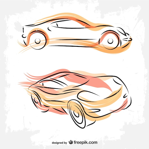 Drawing Vector Lines : Cars line art drawing vector free download