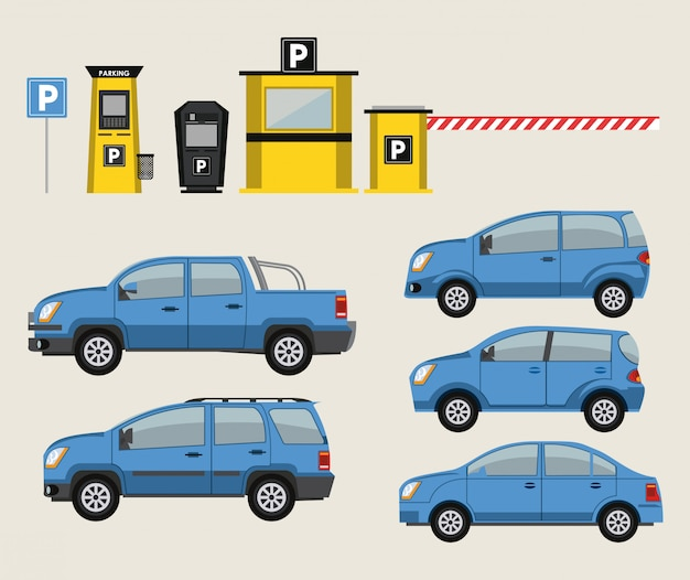 Cars and park lot icons Vector | Premium Download