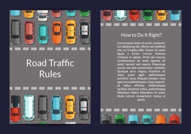 Cars on the road in front of pedestrian zone top view card Premium Vector