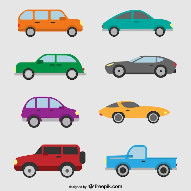 Cars set Free Vector