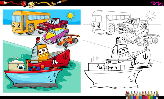Cars and ship characters coloring book Premium Vector