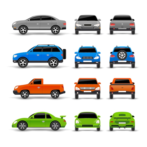 Cars side front and back icons set Free Vector