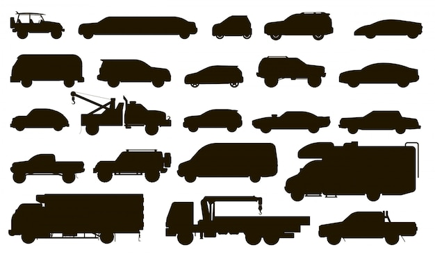 Cars silhouette. automobiles type. isolated bus, motorhome, van, tow truck, sedan, taxi, limousine, suv car vehicle flat icon collection. urban auto motor transport silhouette models set Premium Vector