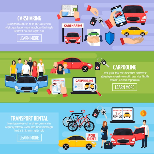 Carsharing banners set Free Vector
