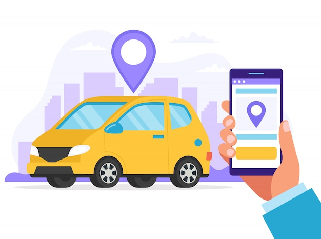 Carsharing concept. a hand holding smartphone with an app to find a car location. Premium Vector