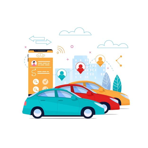 Carsharing flat illustration. automobile rent Premium Vector