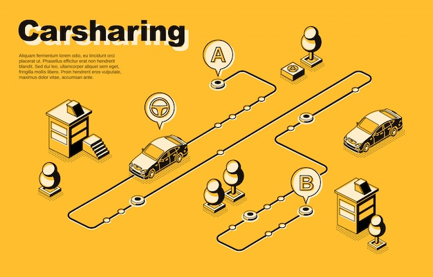 Carsharing service isometric concept or banner with vehicles moving along route Free Vector