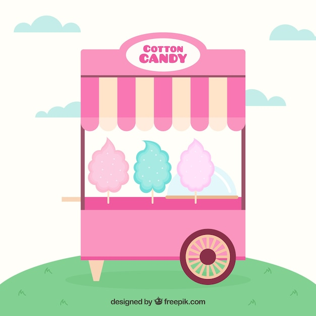 Cart of cotton candy in flat design