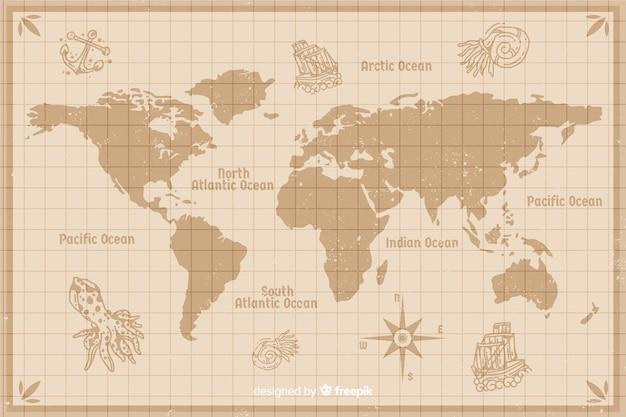 地図作成wintage世界地図デザイン 無料ベクター