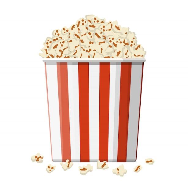 Carton bowl full of popcorn. Premium Vector