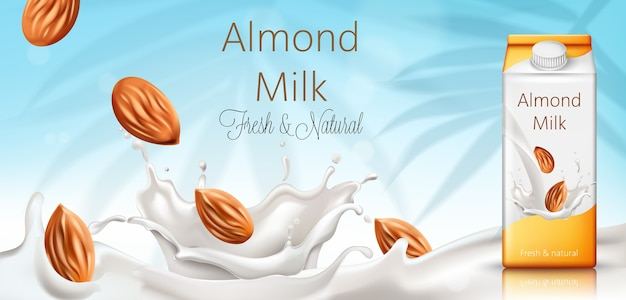 Carton box with almond milk Free Vector