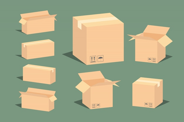 Carton delivery packaging open and closed box with fragile signs. Premium Vector