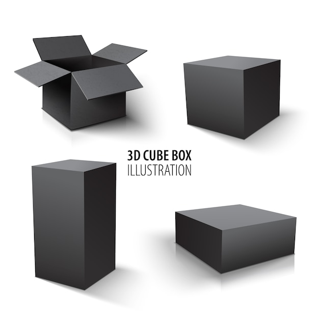 Carton packaging 3d black box and cube set. set of open cardboard boxes and cube. Premium Vector