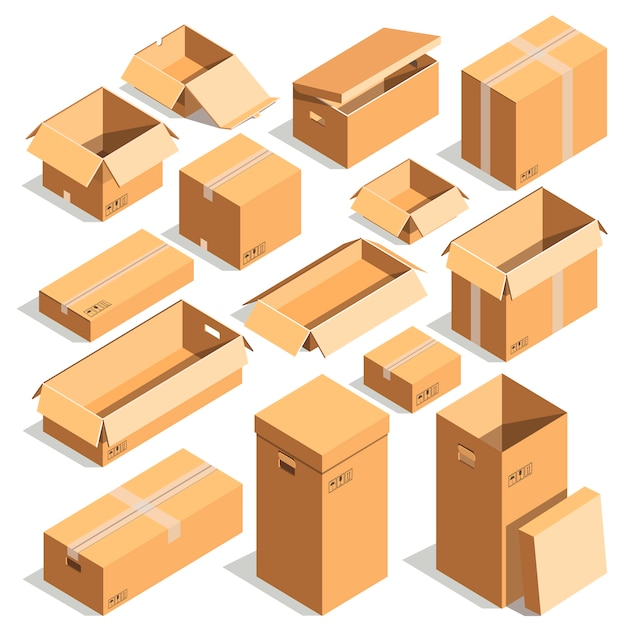 Carton paper box or cardboard post package vector templates Premium Vector