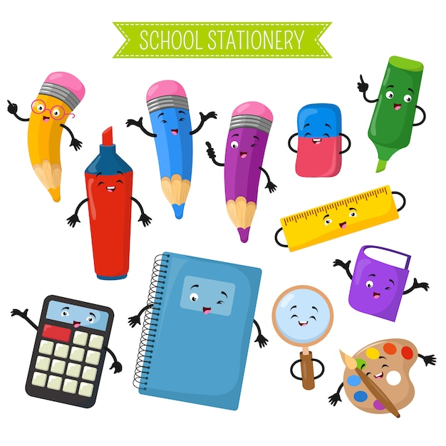 Cartoon 3d vector characters of school writing stationery Premium Vector