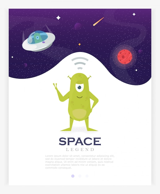 Cartoon about aliens. ufo in space on the background of mars receives a signal Premium Vector