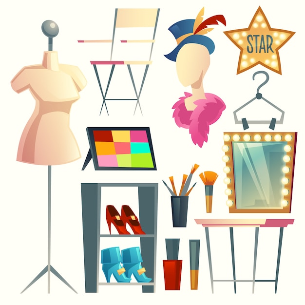 Cartoon actress, actor's dressing room. collection with furniture, clothing and hanger Free Vector
