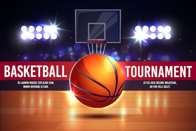 Cartoon ad poster, banner with basketball tournament - shining ball on a court. Free Vector