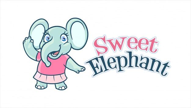Cartoon adorable and cute elephant girl character mascot logo Premium Vector