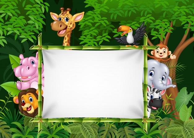 Cartoon african animals with blank sign Premium Vector