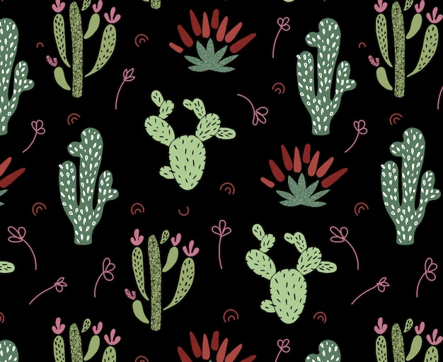 Cartoon african cactus seamless pattern Premium Vector