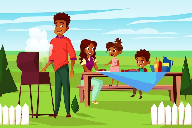 Cartoon african family at outdoor bbq picnic\ party at weekend.