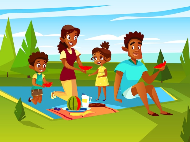 Cartoon African family at outdoor picnic party\ at weekend.