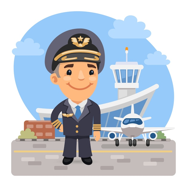 Premium Vector Cartoon Airplane Pilot