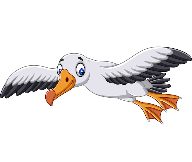 Cartoon albatross flying Premium Vector