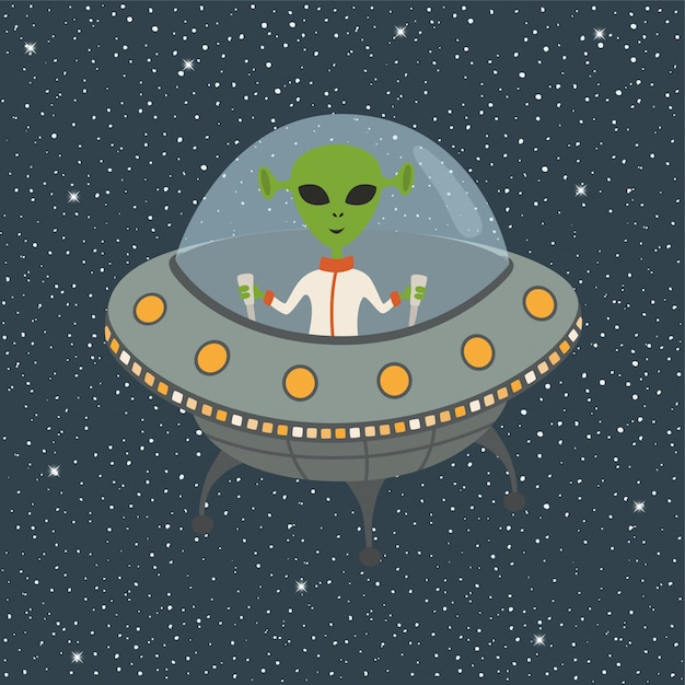 Cartoon alien in flying saucer Premium Vector