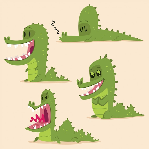 Cartoon alligator set. vector character of funny green crocodile isolated Premium Vector