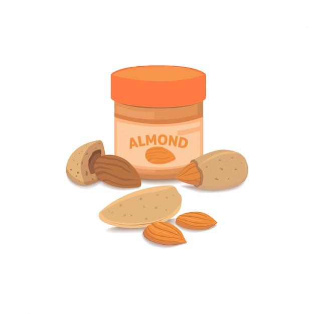 Cartoon almonds vector isolated illustration. Premium Vector