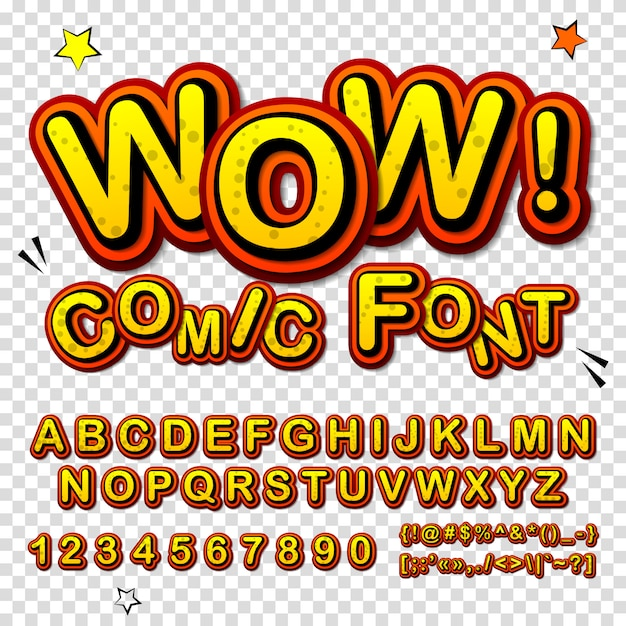 Cartoon alphabet in comics and pop art style. funny yellow font of letters and numbers for decoration comics book page Premium Vector