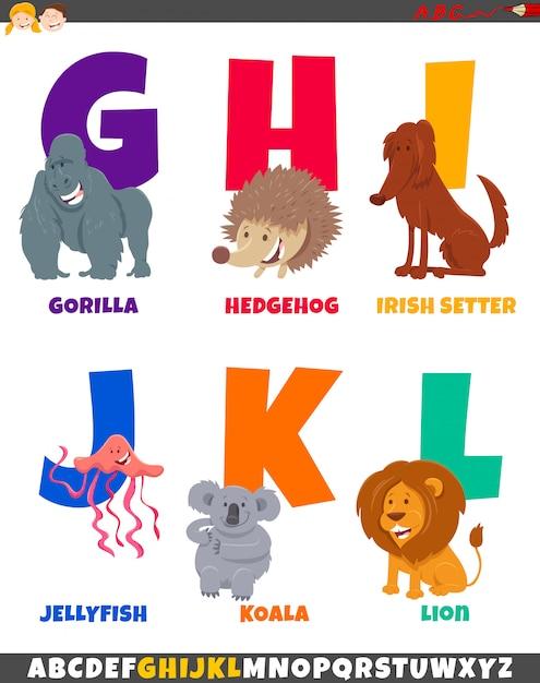Cartoon alphabet set with cute animal characters Premium Vector