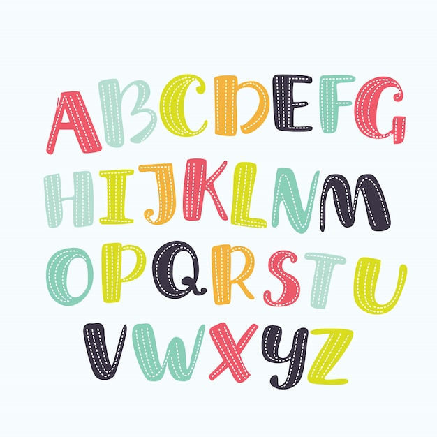 Cartoon alphabet with eyes and lashes on white background. cute abc  for book cover, poster, card,